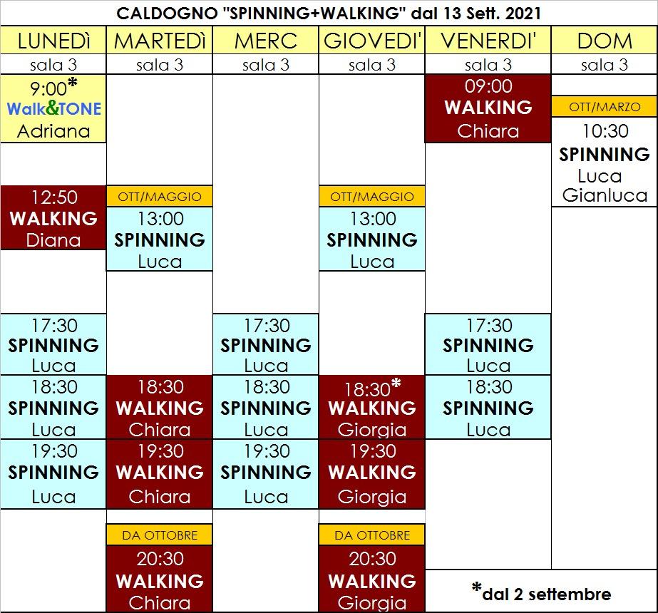 Orari definitivi Spinning-Walking 21-22
